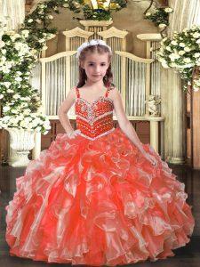 Elegant Sleeveless Beading and Ruffles Lace Up Girls Pageant Dresses