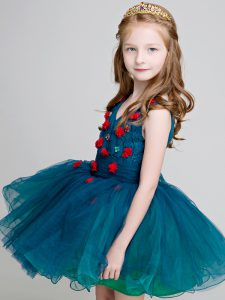 Extravagant Teal Sleeveless Mini Length Lace and Appliques Zipper Little Girls Pageant Dress Wholesale