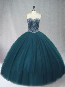 Flare Peacock Green Lace Up Sweetheart Beading Vestidos de Quinceanera Tulle Sleeveless
