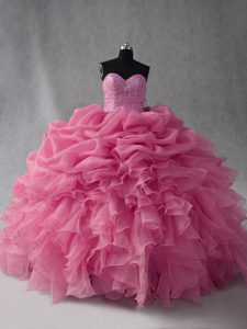 Rose Pink Organza Lace Up Sweetheart Sleeveless Floor Length Quince Ball Gowns Beading and Ruffles and Pick Ups