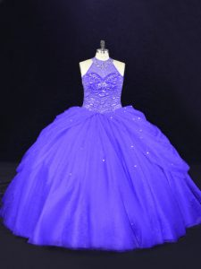 Ball Gowns Sweet 16 Quinceanera Dress Purple Halter Top Tulle Sleeveless Floor Length Lace Up