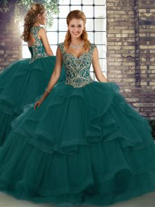 Peacock Green Lace Up Sweet 16 Quinceanera Dress Beading and Ruffles Sleeveless Floor Length