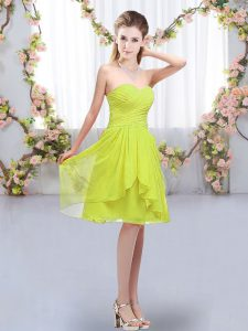 Sleeveless Chiffon Knee Length Lace Up Court Dresses for Sweet 16 in Yellow Green with Ruffles and Ruching