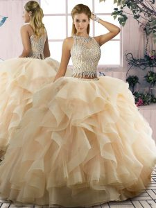 Ruffles 15 Quinceanera Dress Champagne Lace Up Sleeveless Floor Length