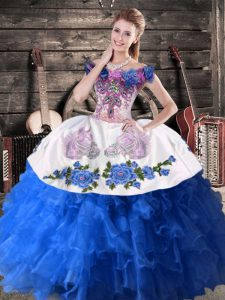 Designer Blue And White Lace Up Quinceanera Gown Appliques Sleeveless Floor Length