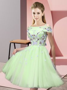 Knee Length Yellow Green Quinceanera Court Dresses Off The Shoulder Short Sleeves Lace Up