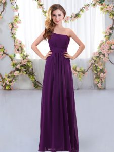 Custom Designed Dark Purple Sleeveless Floor Length Ruching Zipper Vestidos de Damas