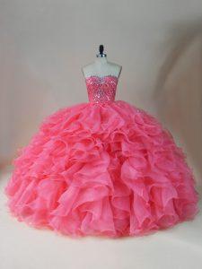 Fabulous Pink Sweetheart Zipper Beading and Ruffles Sweet 16 Quinceanera Dress Sleeveless