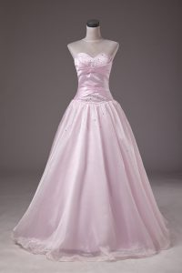 Custom Design Floor Length Baby Pink Quinceanera Gowns Sweetheart Sleeveless Lace Up