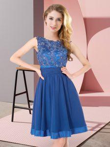 Blue Scoop Backless Beading and Appliques Vestidos de Damas Sleeveless