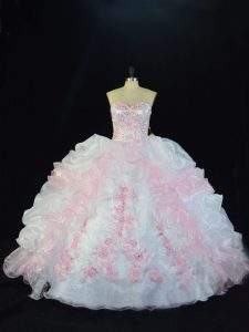 Inexpensive Pink And White Ball Gowns Sweetheart Sleeveless Organza Floor Length Lace Up Beading and Pick Ups Quinceanera Dresses
