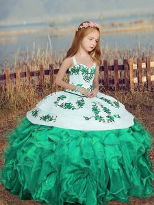 Turquoise Ball Gowns Straps Sleeveless Organza Floor Length Lace Up Embroidery and Ruffles Little Girl Pageant Dress