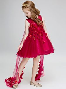 Traditional Wine Red V-neck Neckline Hand Made Flower Little Girls Pageant Dress Sleeveless Lace Up