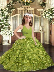 Inexpensive Olive Green Organza Zipper Kids Formal Wear Sleeveless Floor Length Ruffles