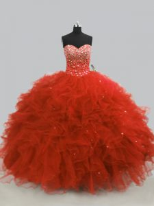 Rust Red Sweet 16 Dresses Sweet 16 and Quinceanera with Beading and Ruffles Sweetheart Sleeveless Lace Up