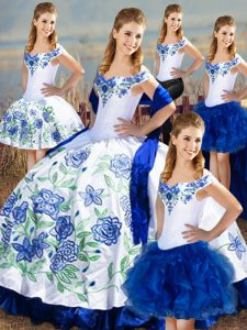 Ball Gowns 15 Quinceanera Dress Blue And White Off The Shoulder Satin and Organza Sleeveless Floor Length Lace Up