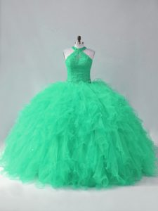 Romantic Turquoise Quinceanera Gowns Sweet 16 and Quinceanera with Beading and Ruffles Halter Top Sleeveless Lace Up
