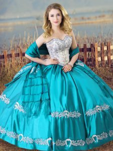 Aqua Blue Sweetheart Lace Up Beading and Embroidery Ball Gown Prom Dress Sleeveless