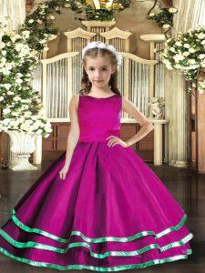 Fantastic Fuchsia Scoop Lace Up Ruffled Layers Pageant Dress Sleeveless