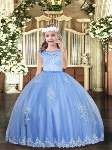 Customized Baby Blue Sleeveless Floor Length Beading and Appliques Zipper Girls Pageant Dresses