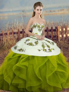 Pretty Olive Green Ball Gowns Embroidery and Ruffles and Bowknot Ball Gown Prom Dress Lace Up Tulle Sleeveless Floor Length