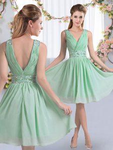 Apple Green V-neck Neckline Beading Court Dresses for Sweet 16 Sleeveless Zipper