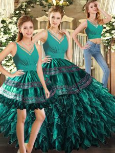 Luxurious Turquoise Quinceanera Gown Sweet 16 and Quinceanera with Appliques and Ruffles V-neck Sleeveless Backless