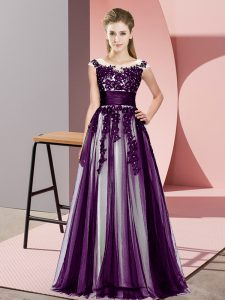 Cute Dark Purple Zipper Dama Dress Beading and Lace Sleeveless Floor Length