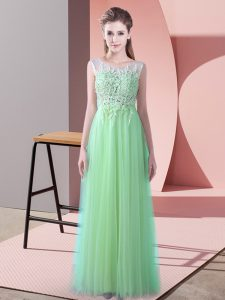 Sleeveless Tulle Brush Train Zipper Dama Dress in Apple Green with Beading and Lace