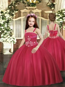Simple Red Little Girls Pageant Gowns Party and Sweet 16 and Wedding Party with Beading Straps Sleeveless Lace Up