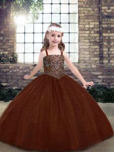 Wonderful Ball Gowns Girls Pageant Dresses Brown Straps Tulle Sleeveless Floor Length Lace Up