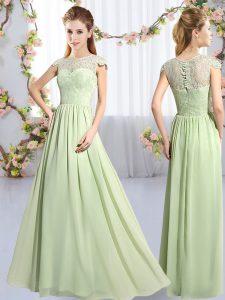 Spectacular Floor Length Yellow Green Vestidos de Damas Chiffon Cap Sleeves Lace