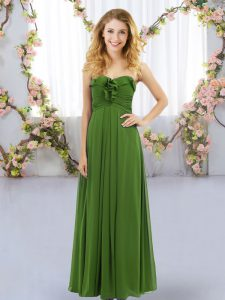 Dazzling Olive Green Lace Up Sweetheart Ruffles Quinceanera Court Dresses Chiffon Sleeveless