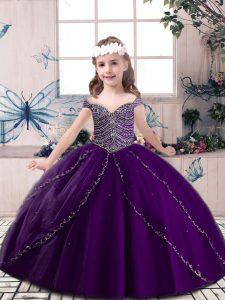 Eye-catching Beading Little Girls Pageant Dress Wholesale Eggplant Purple Lace Up Sleeveless Floor Length