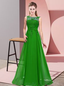 Beading and Appliques Court Dresses for Sweet 16 Green Zipper Sleeveless Floor Length