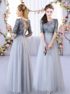 Grey Half Sleeves Floor Length Appliques Lace Up Court Dresses for Sweet 16