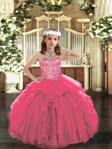 Hot Pink Tulle Lace Up Halter Top Sleeveless Floor Length Pageant Dress Womens Beading and Ruffles