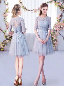 Modern Half Sleeves Tulle Mini Length Lace Up Vestidos de Damas in Grey with Lace