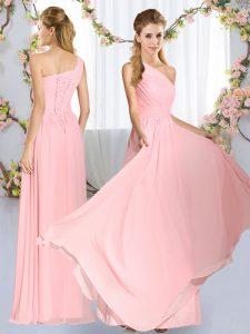 Elegant Sleeveless Ruching Lace Up Vestidos de Damas