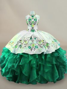Dark Green Organza Lace Up Quinceanera Dress Sleeveless Floor Length Embroidery
