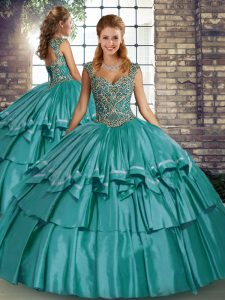 Dramatic Taffeta Straps Sleeveless Lace Up Beading and Ruffled Layers Quinceanera Dress in Teal