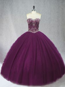 Dark Purple Sleeveless Beading Floor Length Sweet 16 Dress