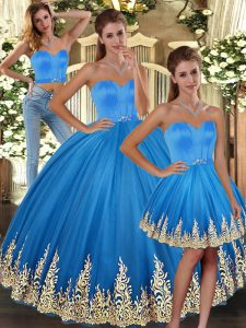 Baby Blue Tulle Lace Up Sweetheart Sleeveless Floor Length Quinceanera Gowns Embroidery