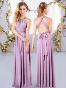 Unique Sleeveless Criss Cross Floor Length Ruching Damas Dress