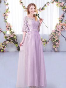 Dynamic Half Sleeves Floor Length Lace and Belt Side Zipper Damas Dress with Lavender