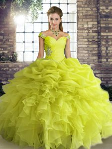 Yellow Green Organza Lace Up Off The Shoulder Sleeveless Floor Length Sweet 16 Dresses Beading and Ruffles and Pick Ups