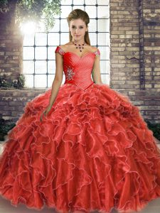 Coral Red Off The Shoulder Lace Up Beading and Ruffles Sweet 16 Dress Brush Train Sleeveless