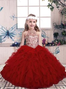 Exceptional Tulle Sleeveless Floor Length Kids Formal Wear and Beading and Ruffles
