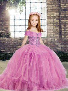 Admirable Sleeveless Floor Length Beading Lace Up Little Girls Pageant Gowns with Lilac