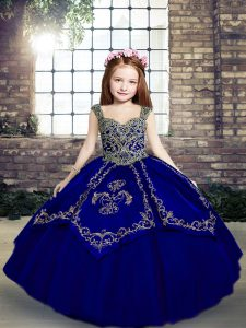 Royal Blue Straps Lace Up Beading and Embroidery Girls Pageant Dresses Sleeveless